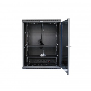 Tough CX Series 15U Double Section Wall Mounted Cabinet with Glass Door