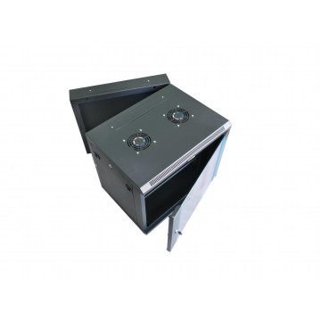 15U Double Section Wall Mounted Cabinet with Glass Door