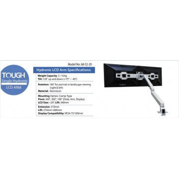 Tough Hydronic Dual Side-by-Side LCD Monitor Arm